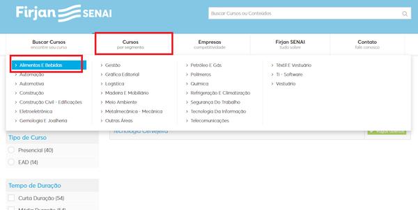Como fazer inscrição online de curso Senai RJ