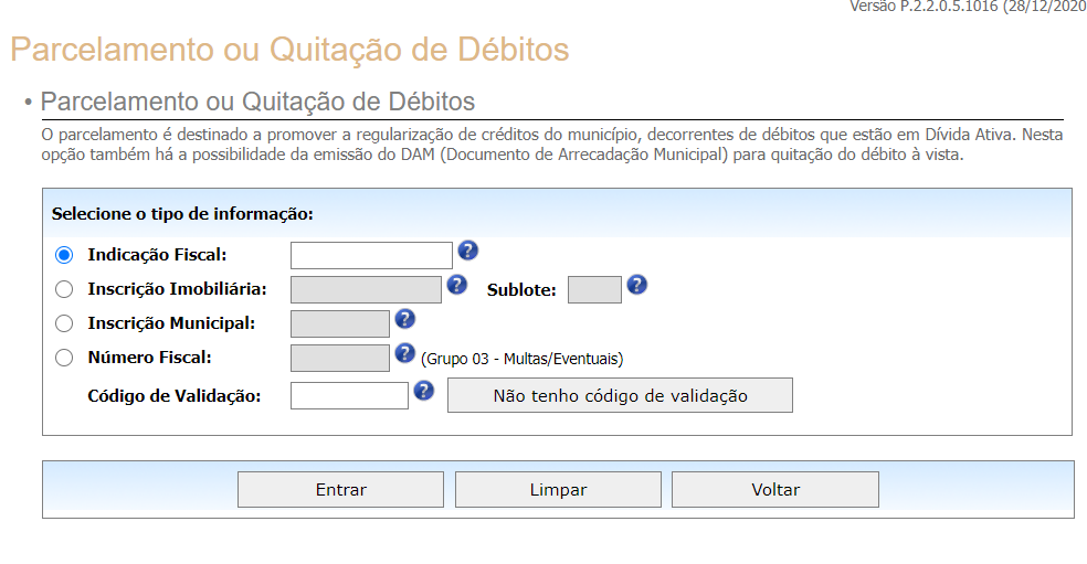 Parcelamento de débitos IPTU Curitiba